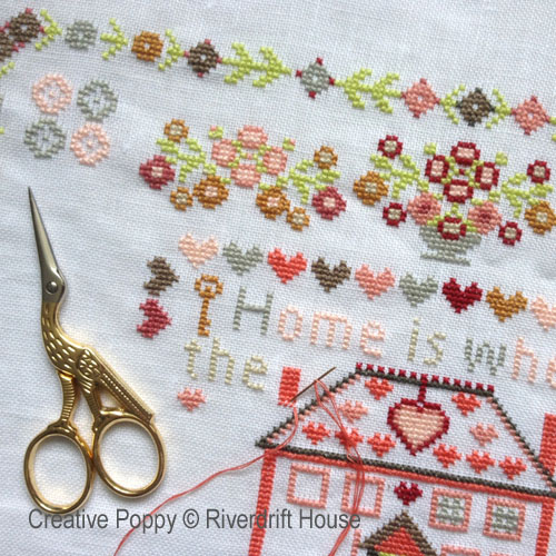 Home is where the heart is cross stitch pattern by Riverdrift House, zoom 1