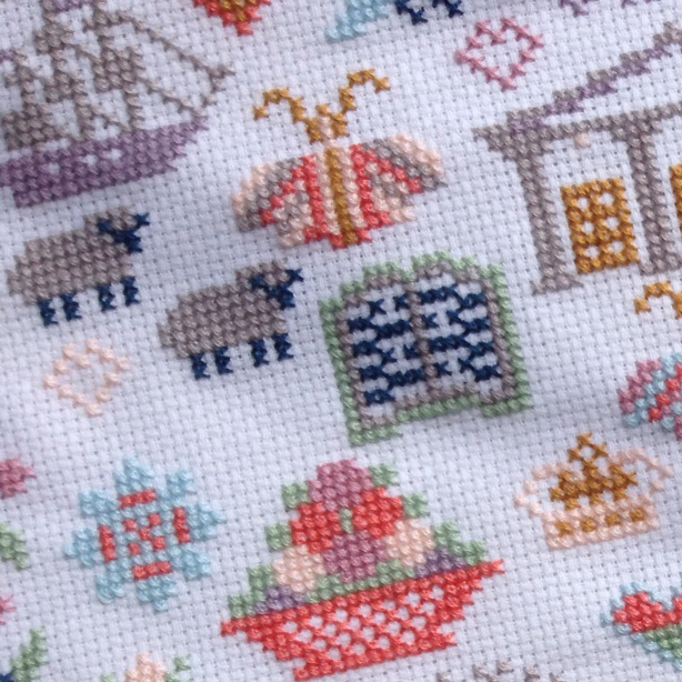Jaune Austen Sampler cross stitch pattern by Riverdrift House, ship motif