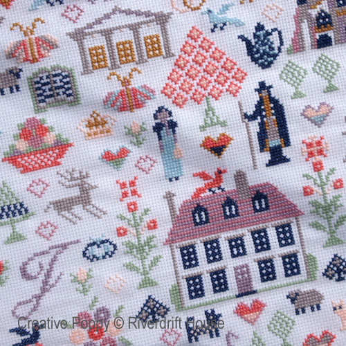 Jane Austen Sampler cross stitch pattern by Riverdrift House, zoom 1