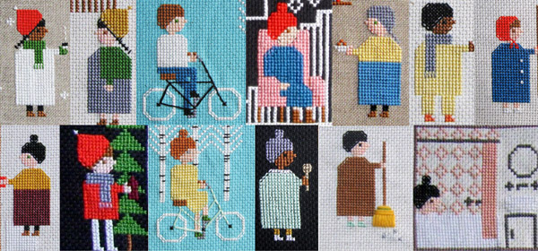 Samantha Purdy's cross stitch characters