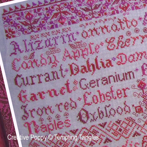 Scarlet Letters (detail), cross stitch pattern in the Color series by Tempting Tangles