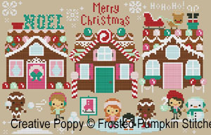 Christmas on gingerbread lane (whole row of houses) by The Frosted Pumpkin Stitchery