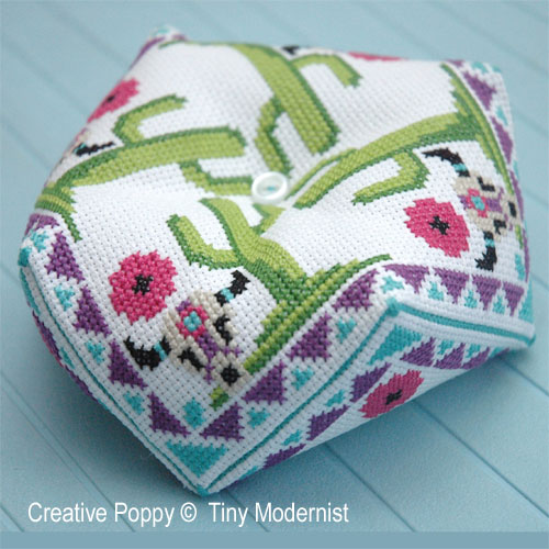 Biscornu pincushion cross stitch patterns designed by <b>The Tiny Modernist</b>