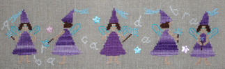 Purple fairies - Counted cross stitch pattern designed by Agnès Delage-Calvet