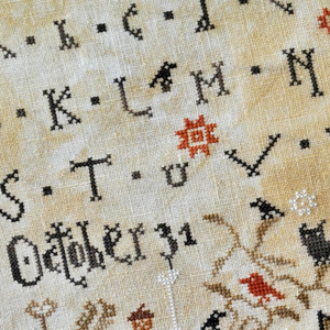 Quaker and primitive cross stitch samplers designed by Barbara Ana