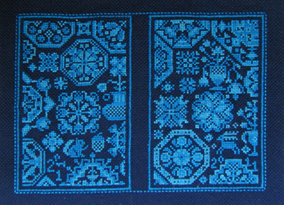 Barbara Ana's shaker patterns, over one thread, on navy Blue Zweigart Lugana evenweave