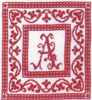 Red monochrome initials - Dessins DHC - Cross stitch