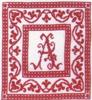 Red monochrome initials - Dessins DHC - Cross stitch