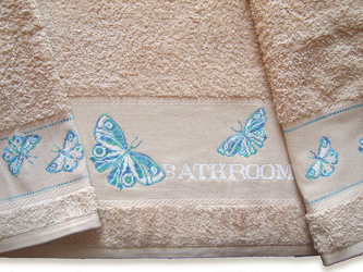 Butterfly pattern for bath towel by Marie-Anne Rethoret-Melin
