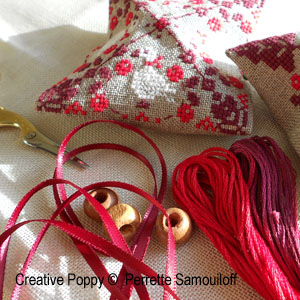 square cross stitch ornaments with ribbon tassels free tutorial