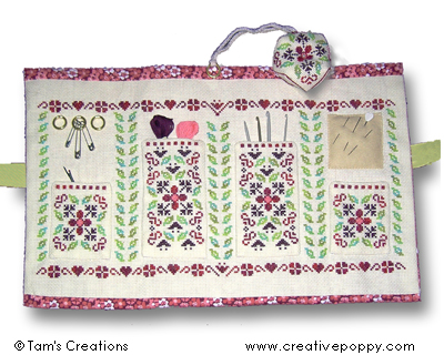 Finished Cranberry sewing set made wityh DMC Magic Guide Aida fabric