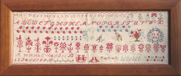 Muriel Brunet - reproduction of antique sampler dating back to 1841