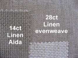 Compare 28ct linen fabric and 14ct Linen Aida fabric
