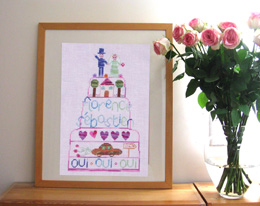 Wedding cross stitch pattern - stitched with overdyed threads