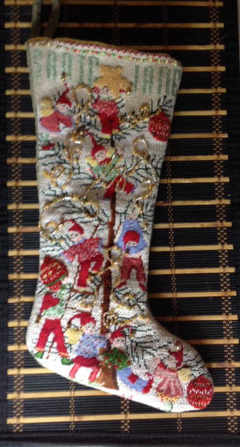 Sylvie Teytaud's Elves decorating the tree adapted on a Christmas Stocking
