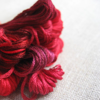 Red shades of embroidery floss - DMC