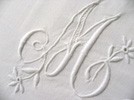 White work Monogram on a pillow case - france circa 1920