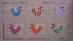 Counted cross stitch pattern stitched with overdyed threads