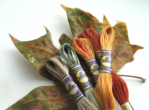 Stitching with overdyed and multicolor embroidery floss colors