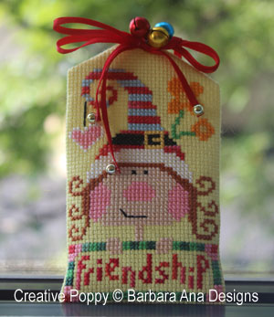 ribbon embellishment for Christmas cross stitch ornaments