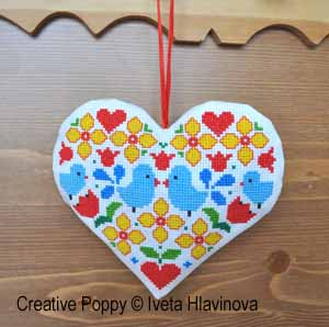 Bluebirds heart, counted cross stitch chart, designed by Iveta Hlavinova
