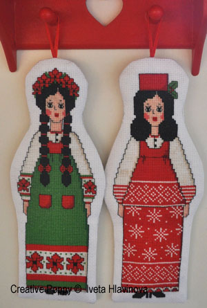 Russian Dolls, counted cross stitch chart, designed by Iveta Hlavinova