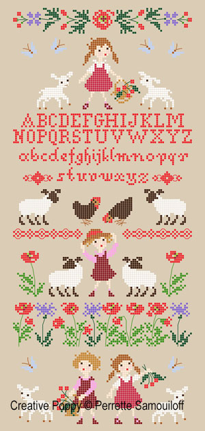 Lamb in Poppy field cross stitch pattern by Perrette Samouiloff