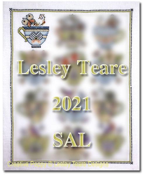 Tea Cup SAL 2021 - Subscription cross stitch pattern by Lesley Teare Designs