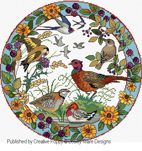 Birds in Autumn cross stitch pattern by Lesley Teare