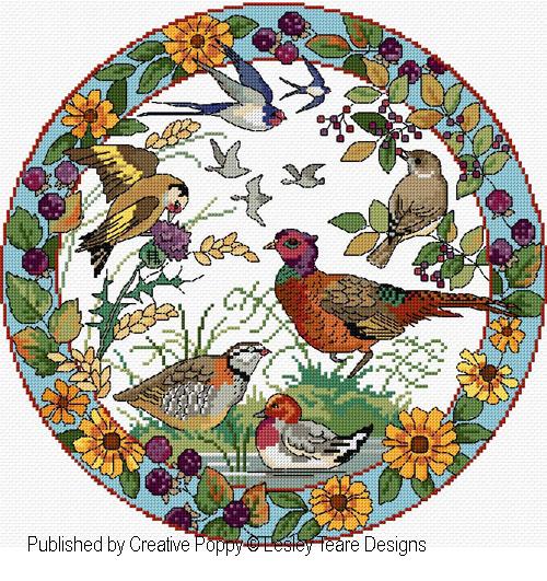 Birds in Autumn cross stitch pattern by Lesley Teare