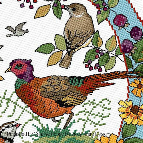 Birds in Autumn cross stitch pattern by Lesley Teare, zoom 1