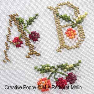 Cherry Basket ABC cross stitch pattern by Marie-Anne Réthoret-Melin