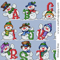 Jolly snowmen ABC - cross stitch pattern - by Maria Diaz