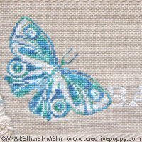 Butterflies - design for Bath towel - cross stitch pattern - by Marie-Anne Réthoret-Mélin (zoom 1)
