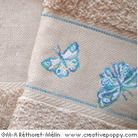 Butterflies - design for Hand towel - cross stitch pattern - by Marie-Anne Réthoret-Mélin