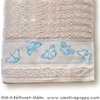 Butterflies - design for Guest towel - cross stitch pattern - by Marie-Anne Réthoret-Mélin