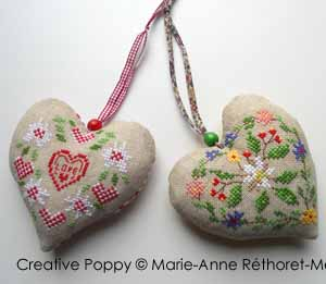 Marie-Anne Réthoret-Mélin - Cowbell hearts (cross stitch pattern)
