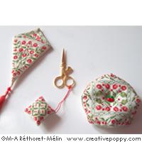 Red cherries needlework accessories cross stitch pattern by Marie-Anne Rethoret-Melin