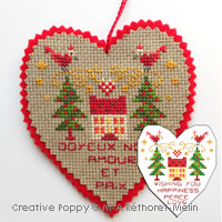 Happiness, Peace and Love Ornament - cross stitch pattern - by Marie-Anne Réthoret-Mélin