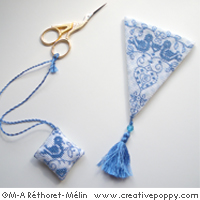 Blue Dove scissor Set, counted cross stitch chart, designed by Marie-Anne Rethoret-Melin