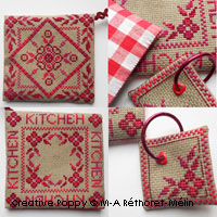 <b>Kitchen potholder set (red)</b><br>cross stitch pattern<br>by <b>Marie-Anne Réthoret-Mélin</b>