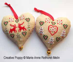 Christmas hearts, counted cross stitch chart, designed by Marie-Anne Rethoret-Melin