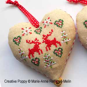 Christmas Heart ornaments cross stitch pattern by Marie-Anne Retoret-Melin, zoom 1