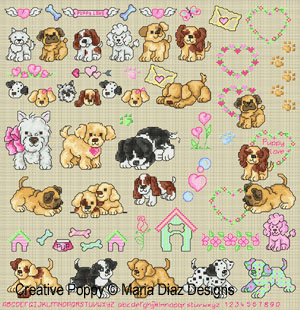 Puppy Love cross stitch pattern by Maria Diaz designs