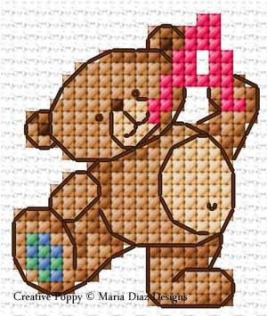 Maria Diaz - Teddy Bear Alphabet (cross stitch pattern chart) (zoom1)