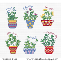 Herb pots - cross stitch pattern - by Maria Diaz