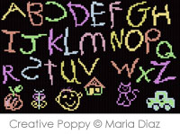 Chalkboard ABC - cross stitch pattern - by Maria Diaz
