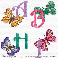 Butterfly alphabet - cross stitch pattern - by Maria Diaz