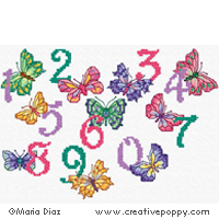 Butterfly numbers - cross stitch pattern - by Maria Diaz