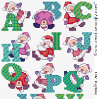 Fun Santa alphabet - cross stitch pattern - by Maria Diaz